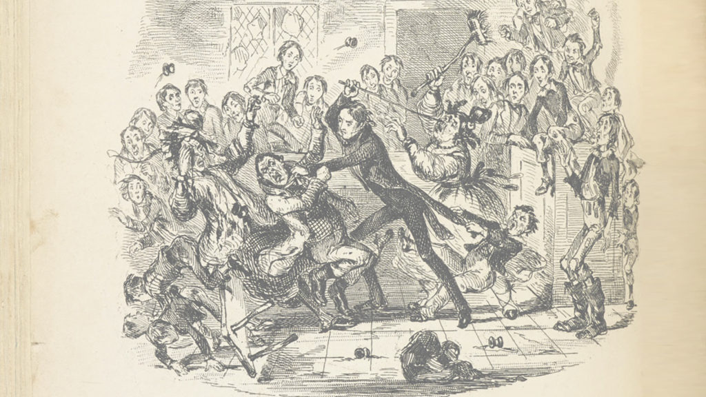 An illustration from Nicholas Nickleby showing character Wackford Squeers fighting with a man as a crowd looks on.