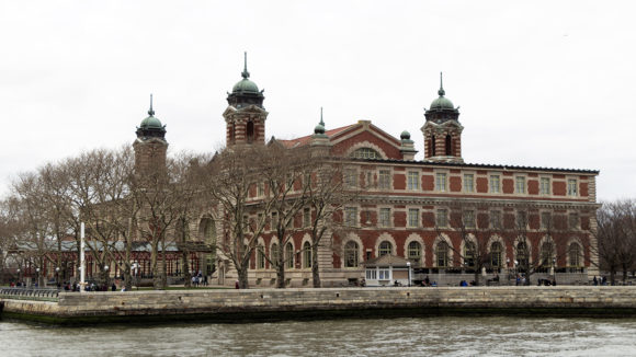 Ellis Island, as seen from a boat.