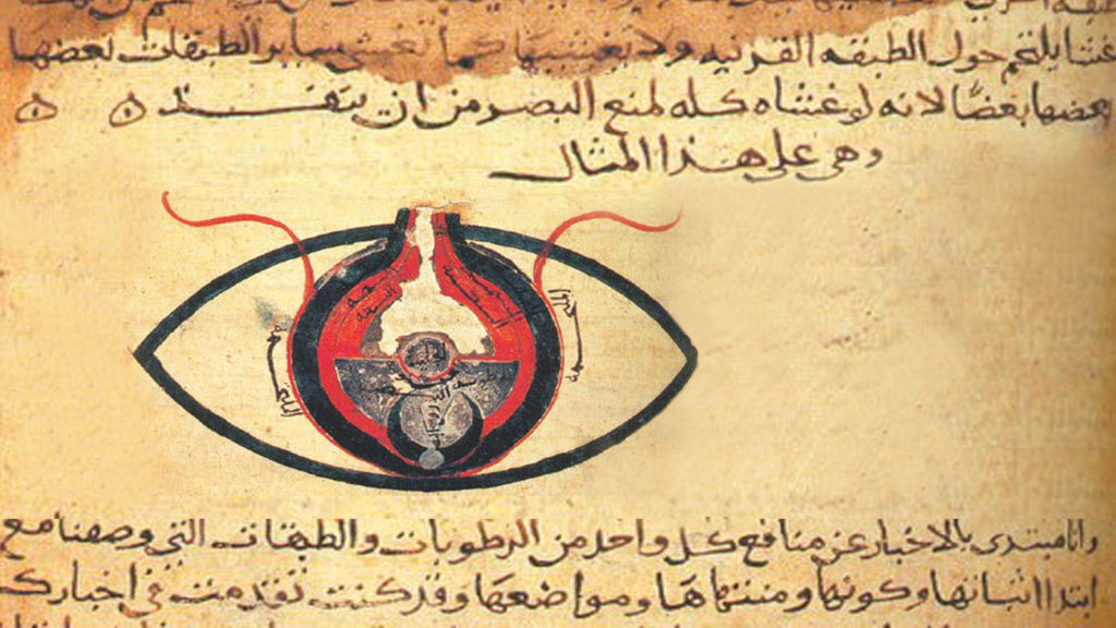 A page from an Arab textbook from the 800s, showing Arabic writing and a red and black illustration of an eye.