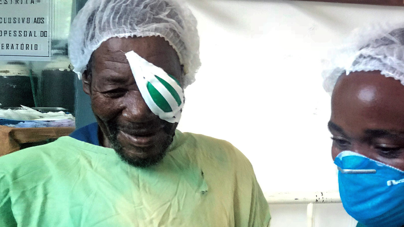 Poligarpo with an eye patch over his eye after his cataract operation.