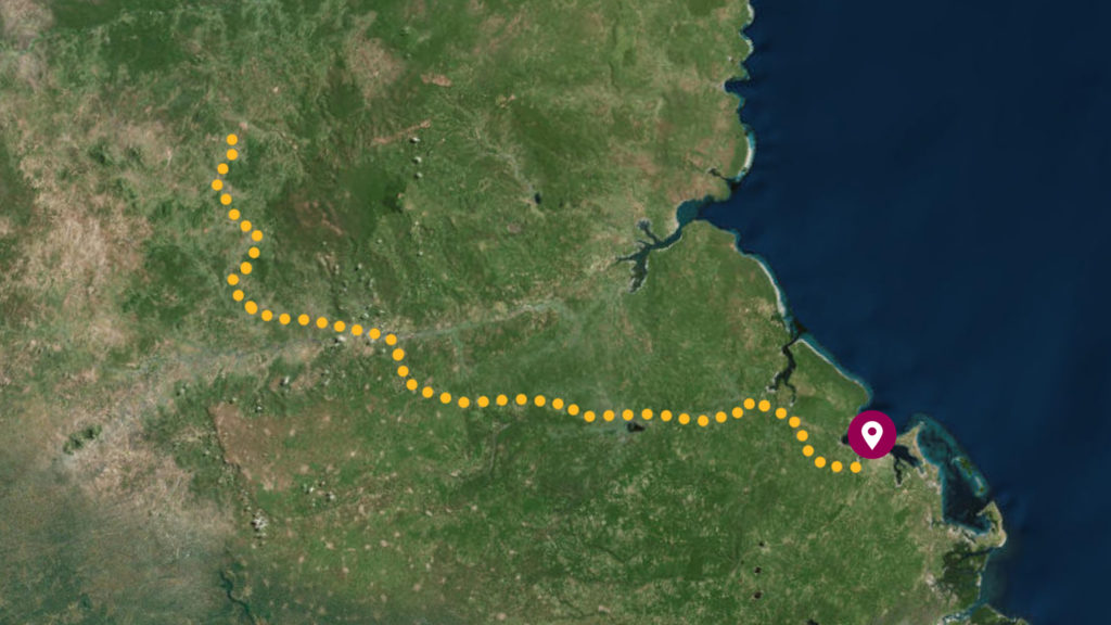 A dotted line on the map tracks the route from Mtwara to Ruangwa further inland.