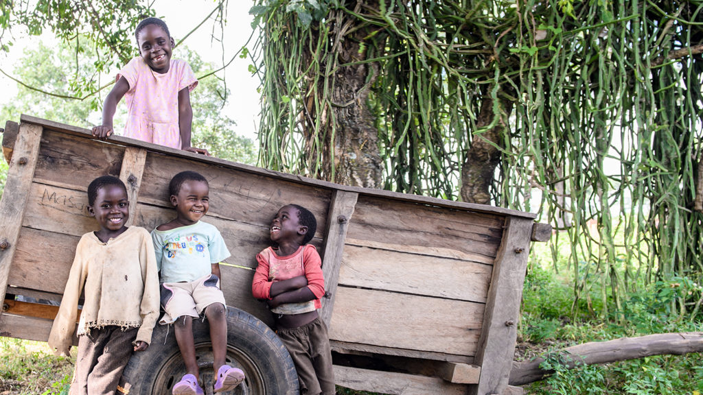 A group of children from Zambia smile while gathered round a wooden cart.