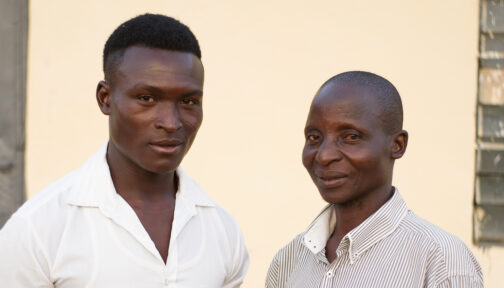 Jacob and Moses outside their village in Nigeria.