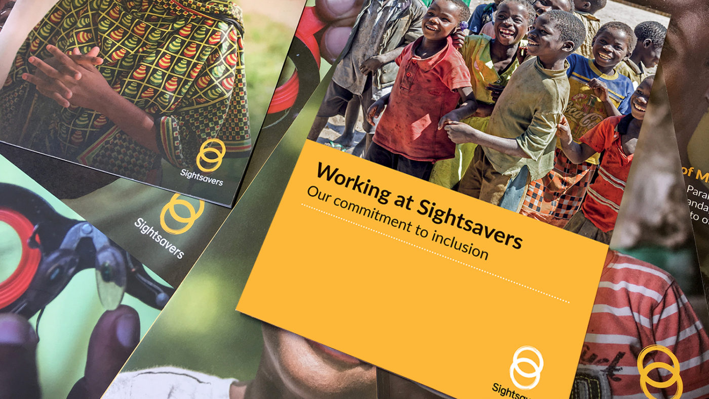 A Sightsavers brochure, showing the title 'Working for Sightsavers'.