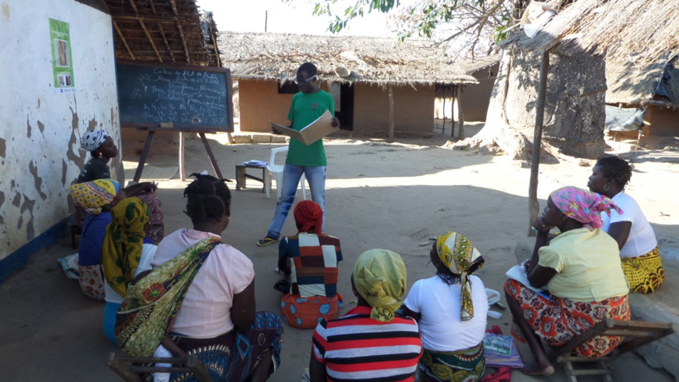 A group of women gather to discuss eye health at a CATCH eye camp.