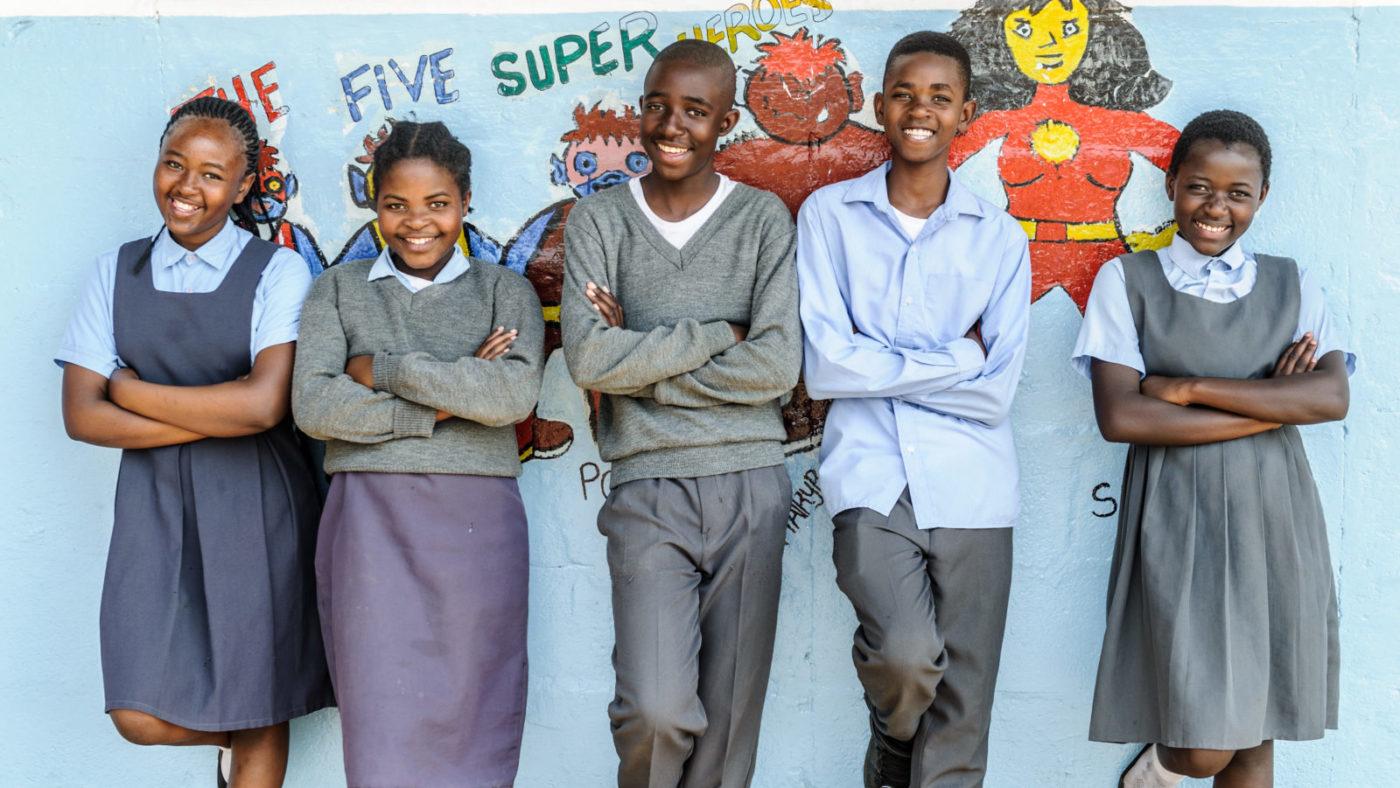 Group photo of Super School of 5 from Chikonkomene Primary in Chikankata, Zambia - L to R - Chisomo Lungu, 12, Charity Sipopa, 12, Lamik Goma, 12, Saboi Malala, 12 and Tracey Mwale,12