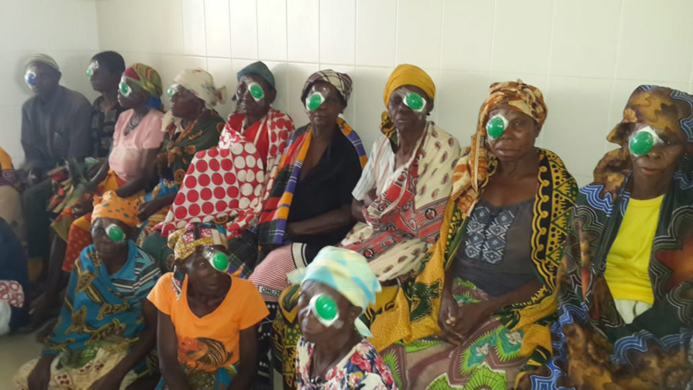 A group of women waiting after post eye surgery.
