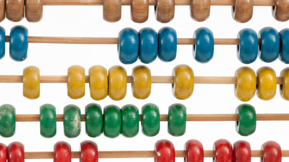 A close-up of a colourful abacus.