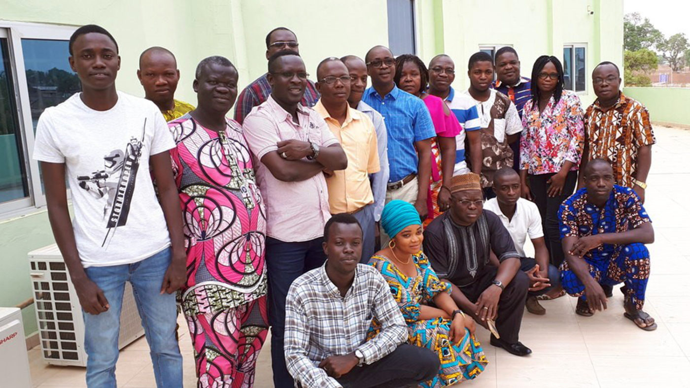 A group of eye health workers following their training session in Benin.