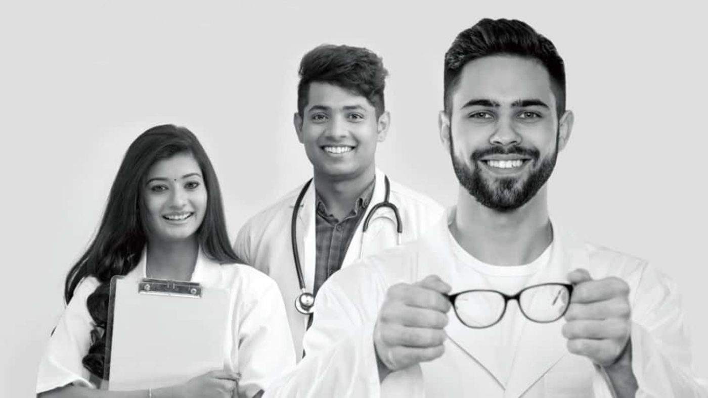 Three young ophthalmologists in a promotional image for the fellowship programme.