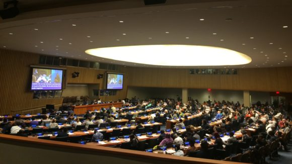A busy conference chamber at the United Nations.