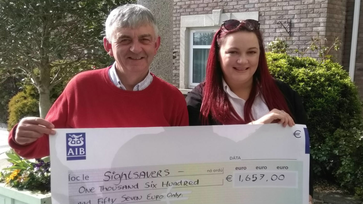 Aideen and Oliver in Ireland with fundraising cheque for €1,657.