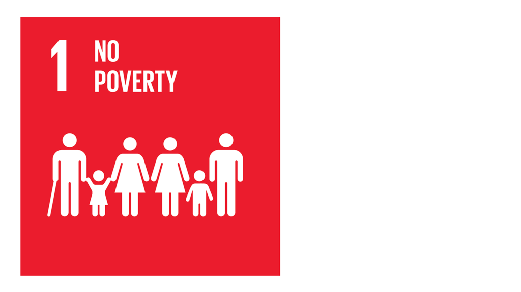 A red icon with an image of a family and the text '1: No poverty'.
