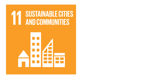 A yellow icon with an image of a city skyline and the text '11: Sustainable cities and communities'.