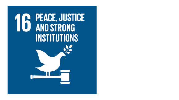 A blue icon with an image of a dove and the text '16: Peace, justice and strong institutions'.