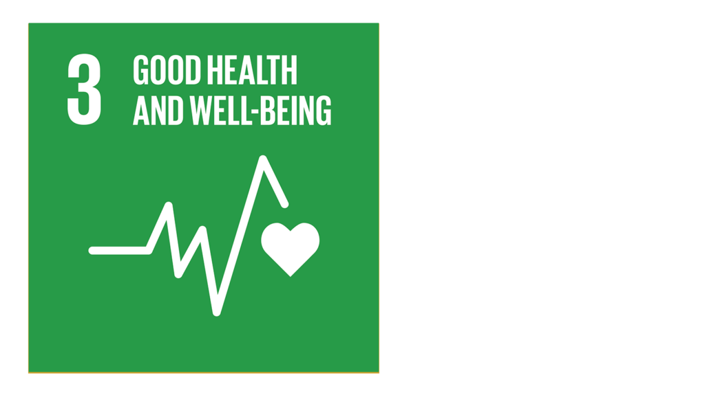 A green icon with an image of a heartbeat and the text '3: Good health and well-being'.'.