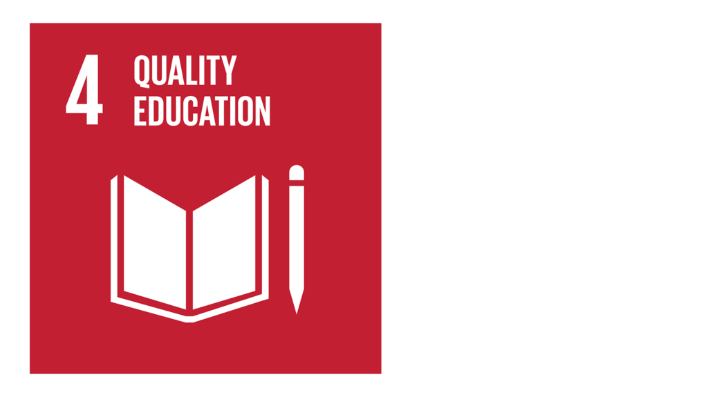 A red icon with an image of a book and the text '4: Quality education'.'.