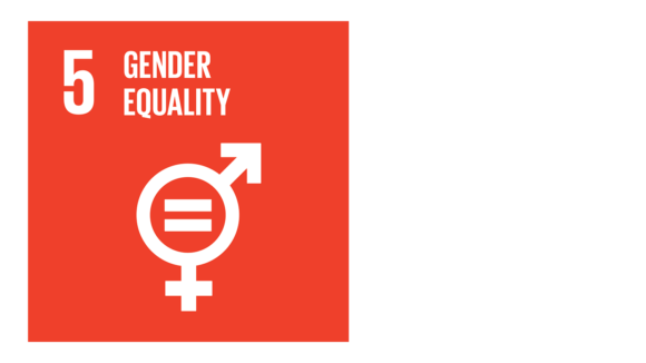 A red icon with an image of male and female symbols and an equals sign, and the text '5: Gender equality'..