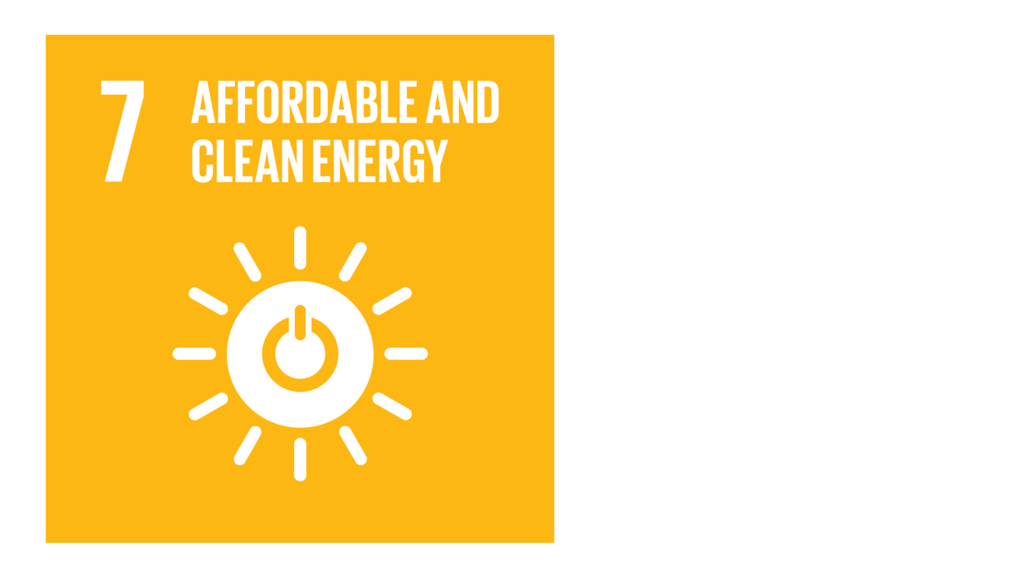 A yellow icon with an image of a sun and the text '7: Affordable and clean energy'.