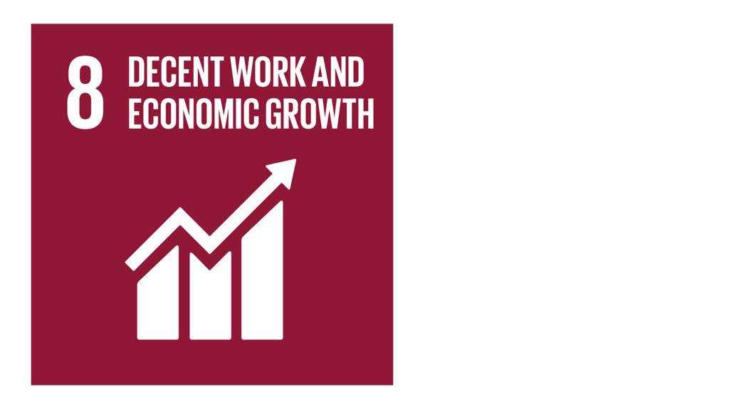 A red icon with an image of a graph and the text '8: Decent work and economic growth'.