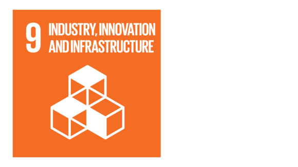 An orange icon with an image of building blocks and the text '9: Industry, innovation and infrastructure'.