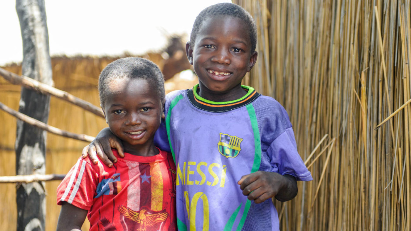 Smiling siblings who are free from blinding trachoma