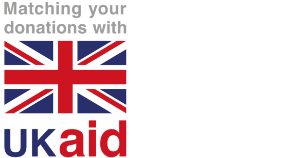 UK Aid logo, featuring the Union Jack and the wording 'Matching your donations with UK aid'.