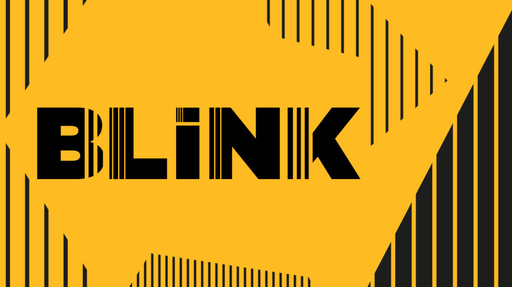 An abstract yellow image featuring black stripes and the Blink logo.