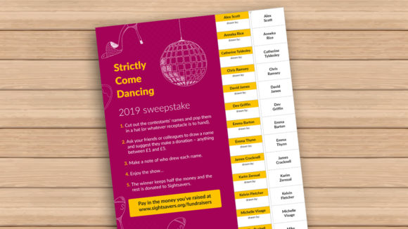 Strictly Come Dancing sweepstake promo image showing the sweepstake printout.