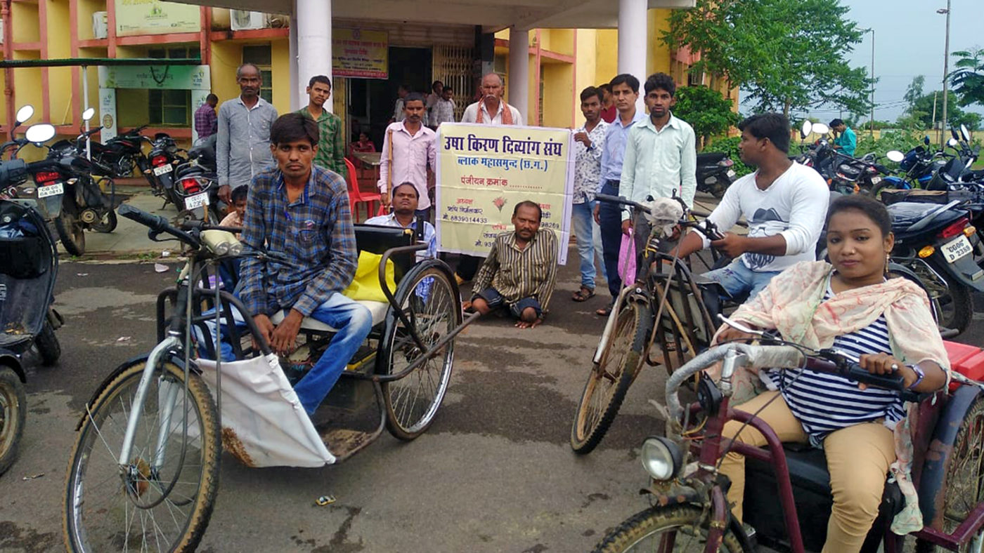 Members of the Mahasamund organisation for people with disabilities.