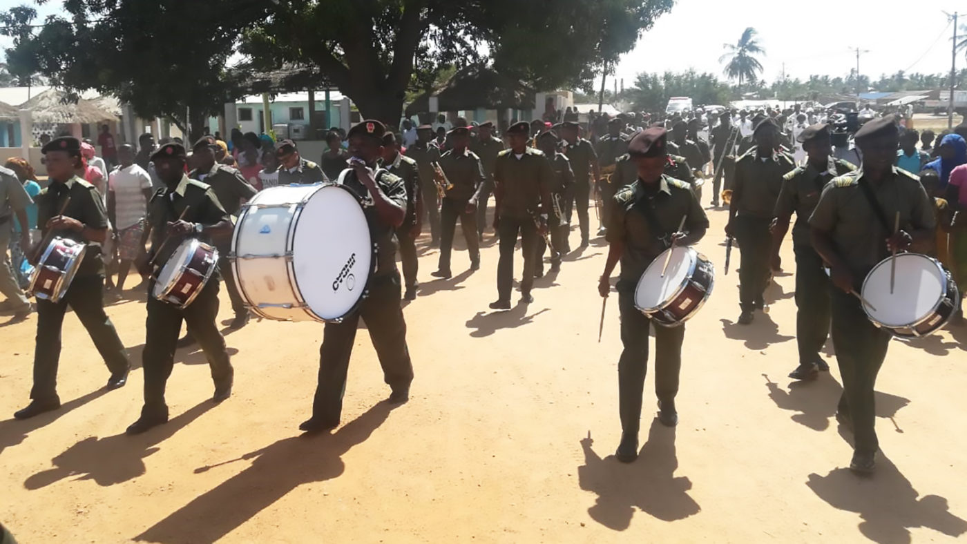 A marching band with drums.