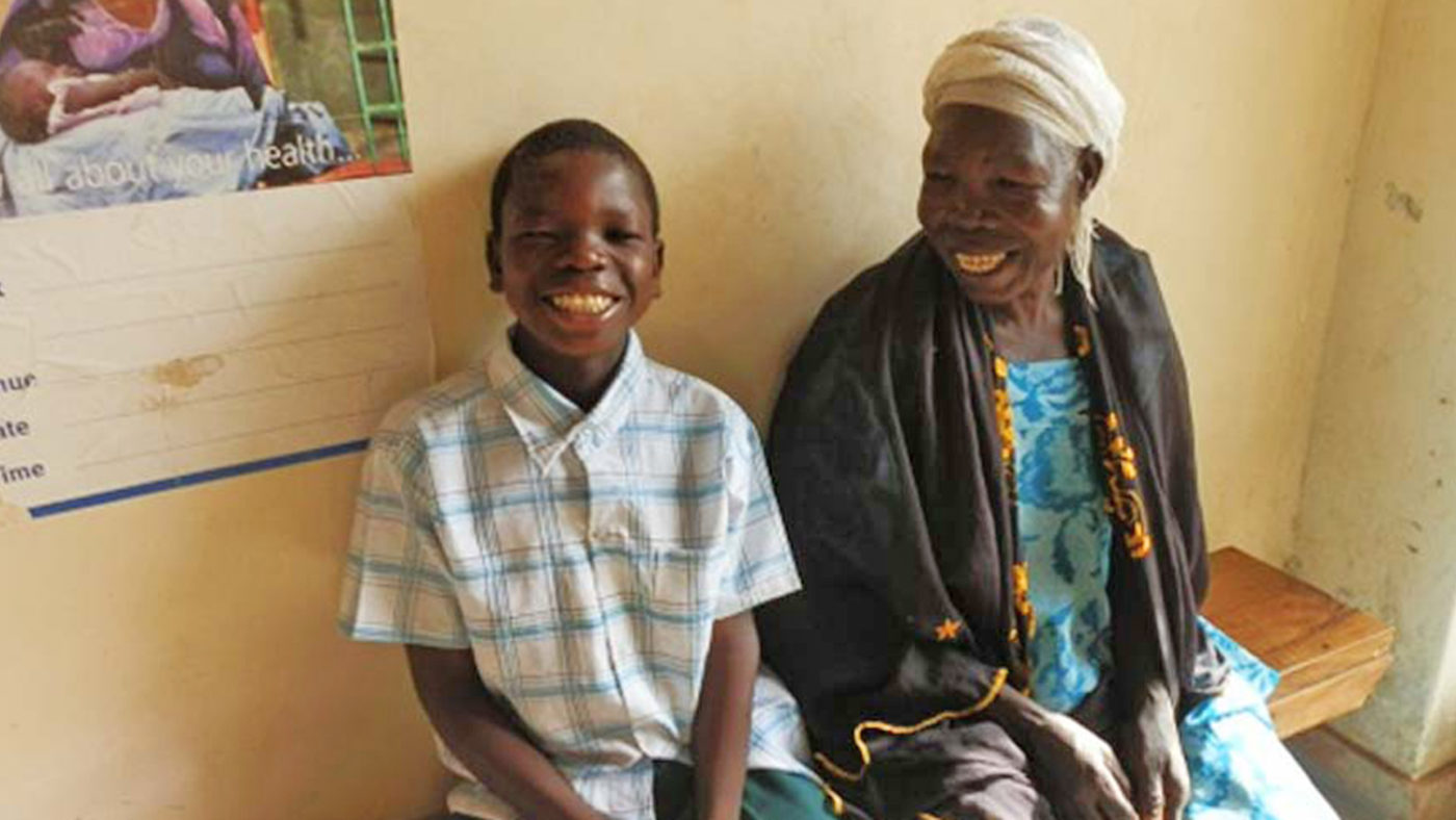 Saharu smiles broadly after his eye surgery,