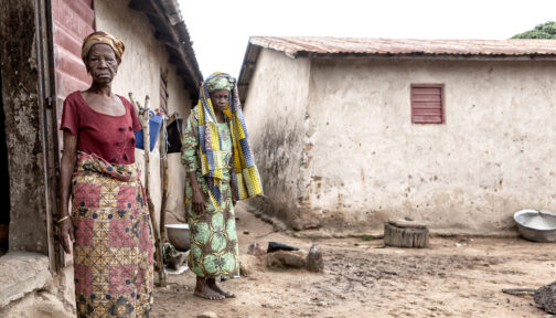 Trachoma patient Mariam outside her home in Benin.