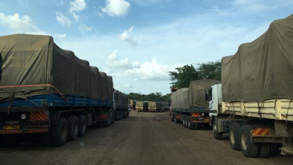 Trucks queuing.