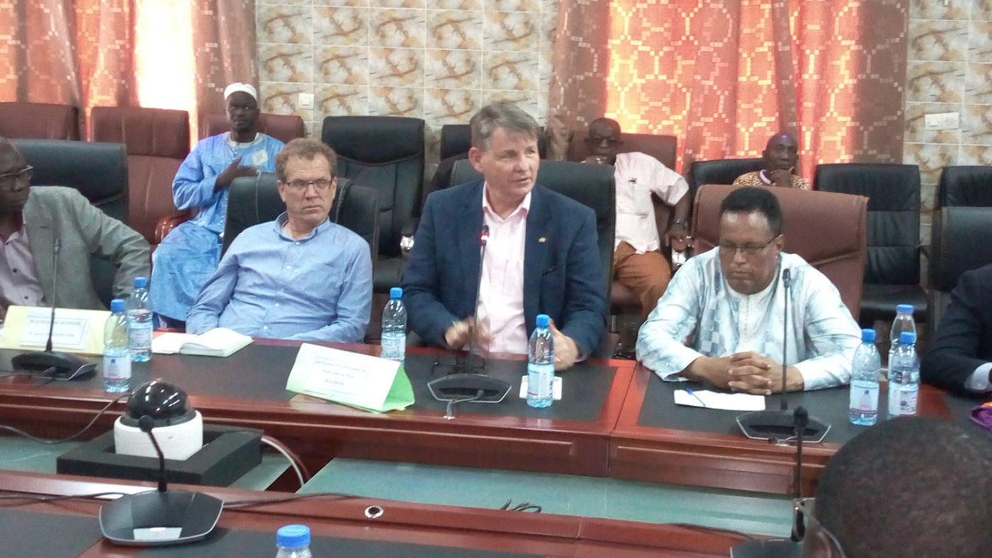 US Ambassador Dennis Hankins in Mali with Sightsavers staff.