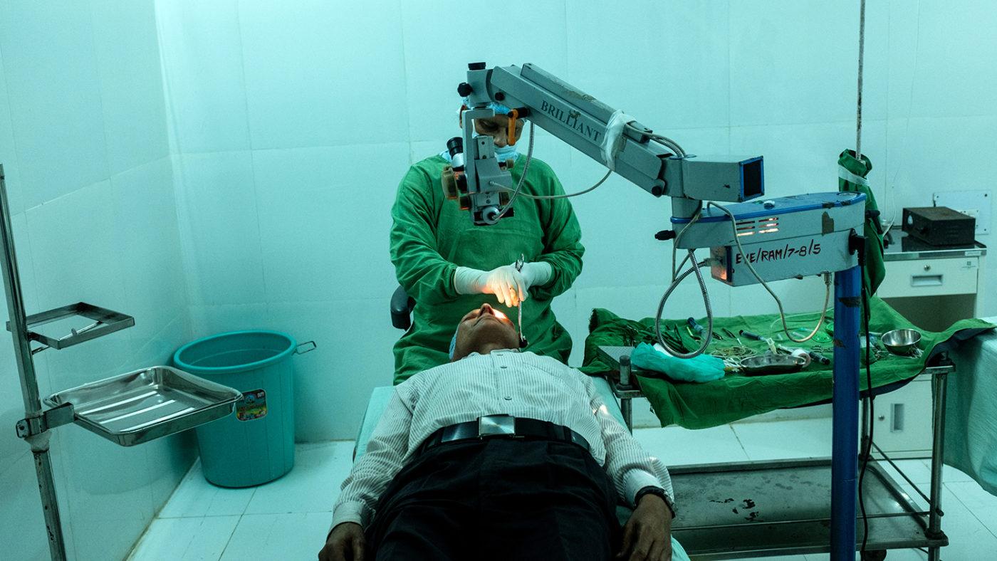 A man has a cataract operation.
