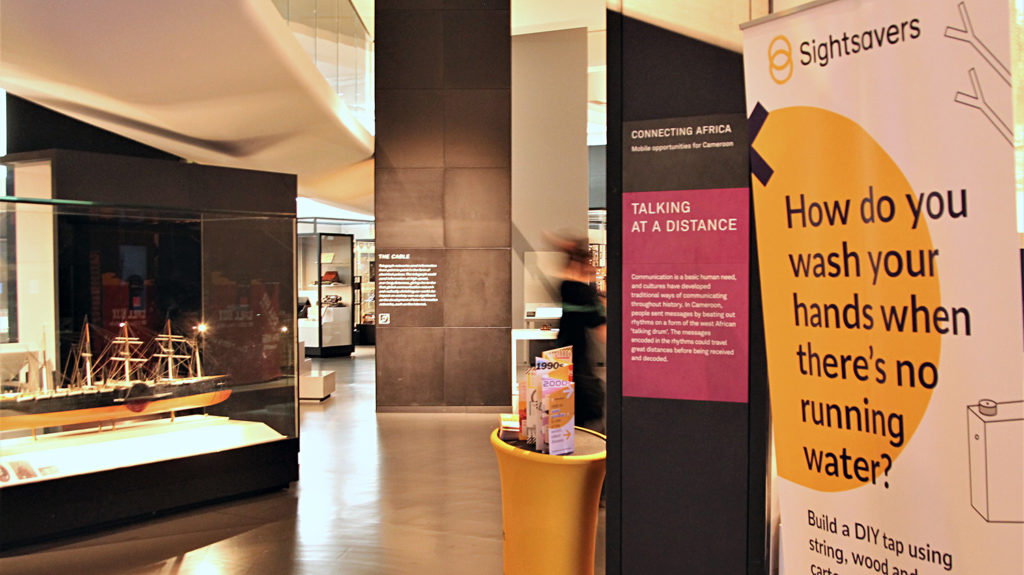 Sightsavers' stand at the Science Museum in London.