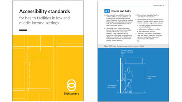 The front cover and an internal page from Sightsavers' accessibility standards document, featuring the text 'Accessibility standards for health facilities in low and middle income settings'.
