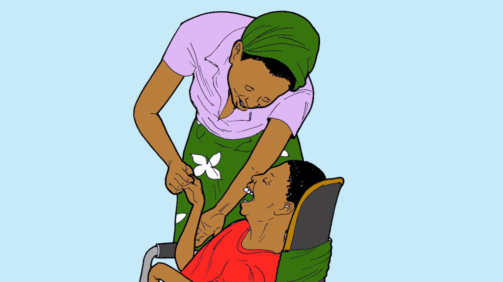 Example of a hand-drawn illustration, showing a caregiver assisting a boy in a wheelchair.