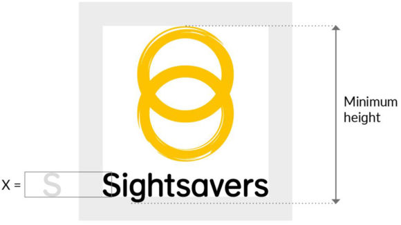 Diagram showing the clear zone and minimum height of the Sightsavers logo.