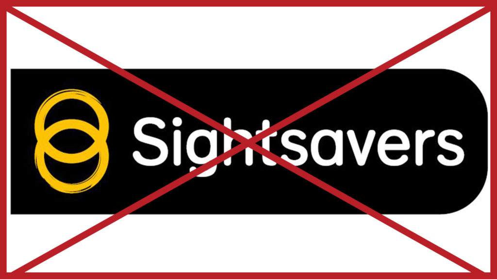 A Sightsavers logo with a black rounded background. The image has a red cross through it to indicate it is incorrect.