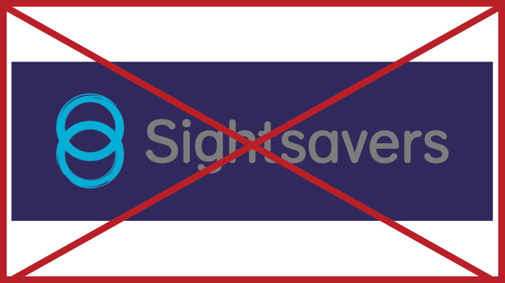 A light grey Sightsavers logo with blue rings on a blueberry-coloured background. The image has a red cross through it to indicate it is incorrect.