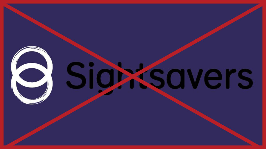 A black Sightsavers logo on a dark blueberry background: the logo is hard to see. The image has a red cross through it to indicate it is incorrect.