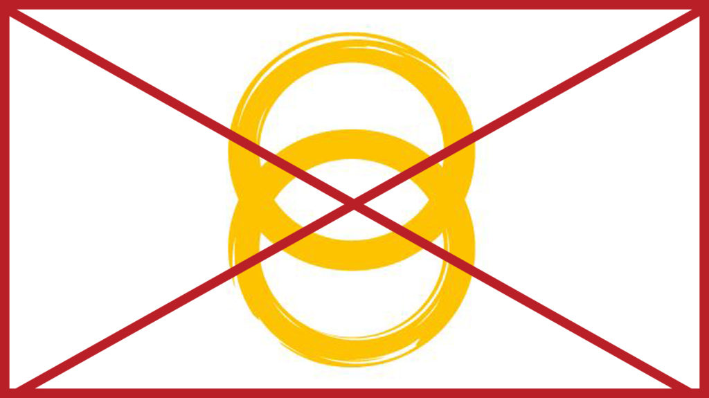 The yellow rings from the Sightsavers logo without the wording underneath. The image has a red cross through it to indicate it is incorrect.