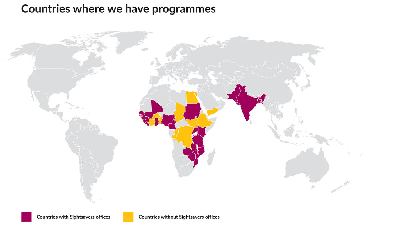 An example of a Sightsavers map, with the text 'Countries where we have programmes', 'Countries with Sightsavers offices' and 'Countries without Sightsavers offices'.