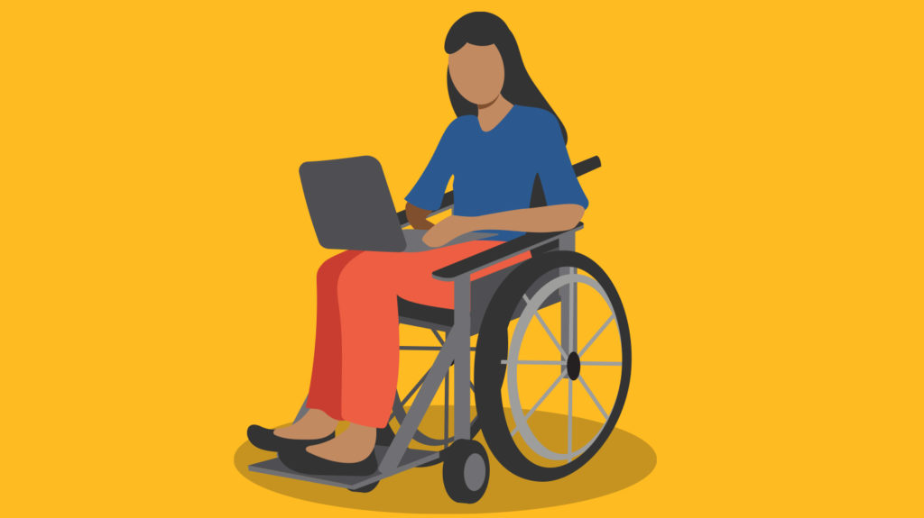 Example of a modern illustration, showing a woman in a wheelchair using a laptop.