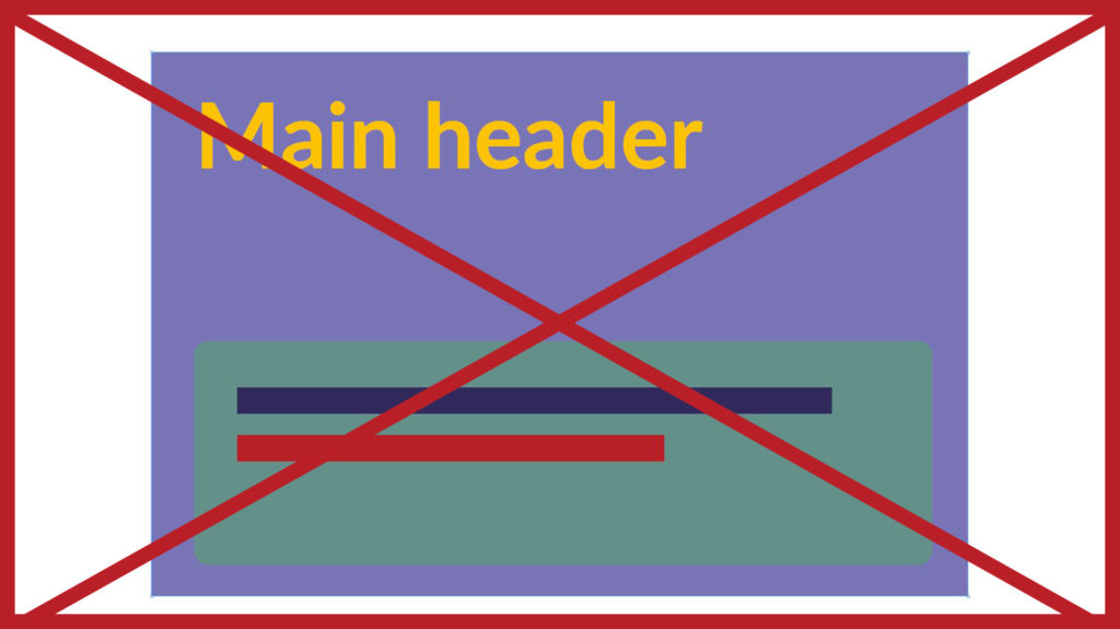 An example of a table using lilac, yellow, green, purple and red. The image has a red cross through it to indicate it is incorrect.
