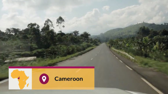 An example of the location lower third used in the video, with the text 'Cameroon'.