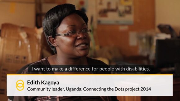 An example of a video lower third, with text at the bottom of the screen reading 'Edith Kagoya, community leader, Uganda Connecting the Dots project 2014'.