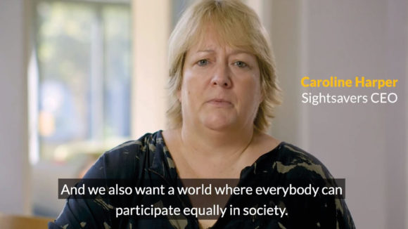 Example of someone's name and job title being included on a video, featuring the wording 'Caroline Harper, Sightsavers CEO'.